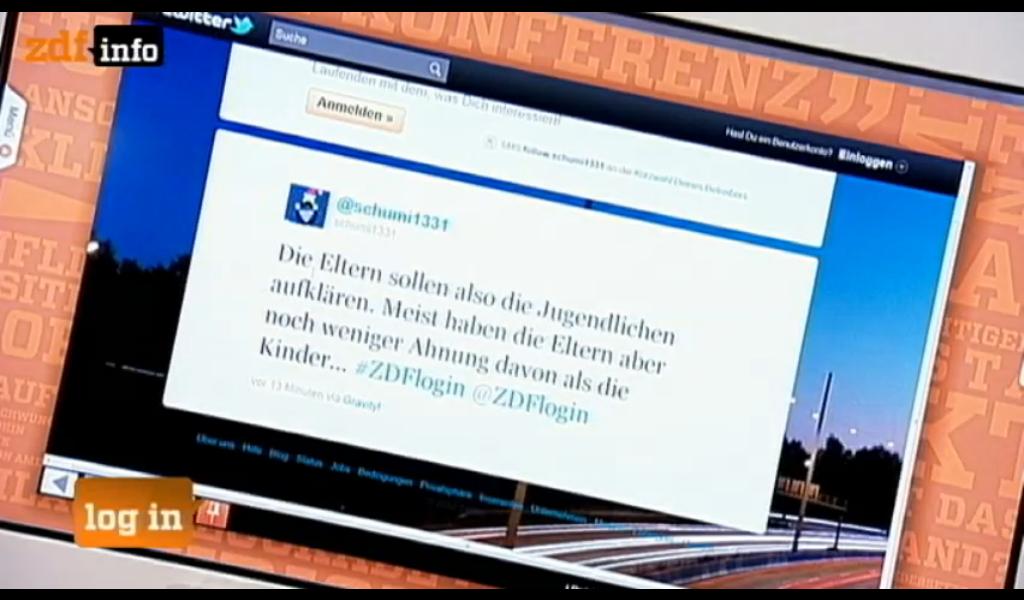 Social Media - Mein Tweet bei ZDF log in