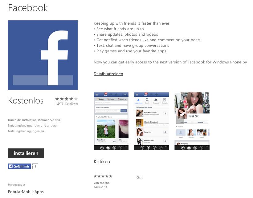 Nicht offizielle Facebook-App im Windows Phone Store