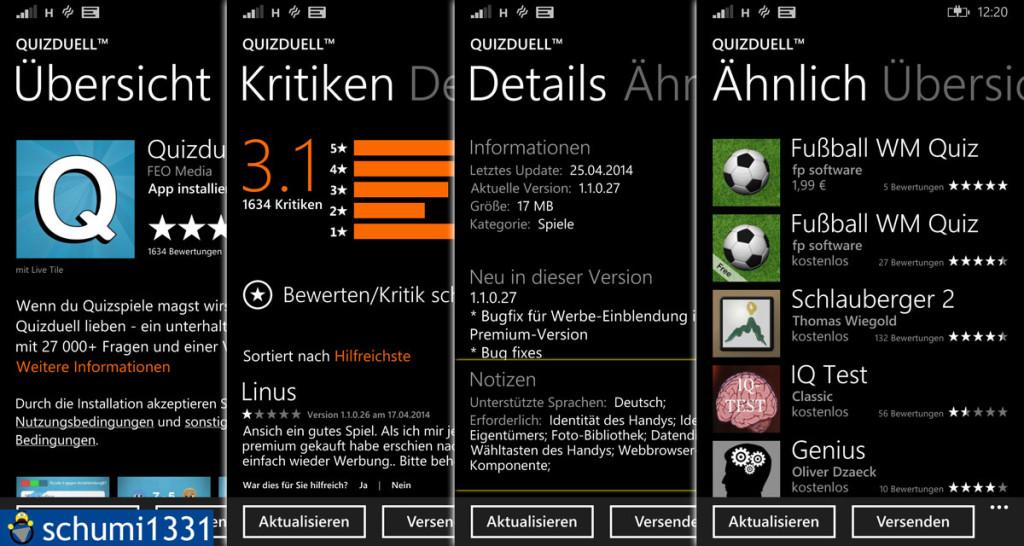 Detail-Ansicht im Windows Phone Store