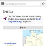 Suchergebnis mit zugehöriger Wikipedia-Seite (BlackBerry 10)
