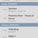 Hochgeladene Videos (Windows Phone)
