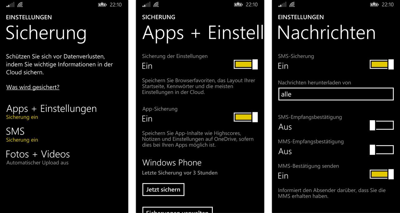 Windows Phone 8.1 - Backup-Möglichkeiten