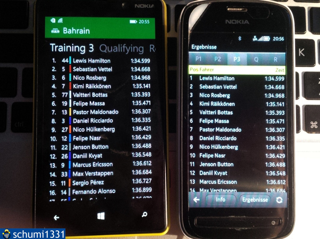 Practice results in PitlaneOne on Windows Phone and Symbian