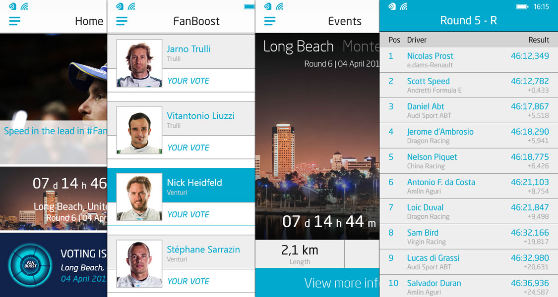Formula E for Windows Phone: Main screen, #Fanboost voting, Races, Race results (from left)