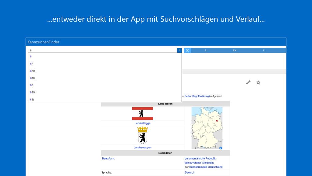 KennzeichenFinder für Windows 10: Suchvorschläge und Verlauf