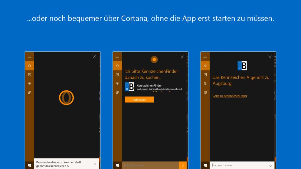 KennzeichenFinder für Windows 10: Cortana