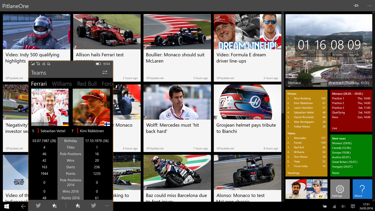 PitlaneOne for Windows 10 (Mobile)