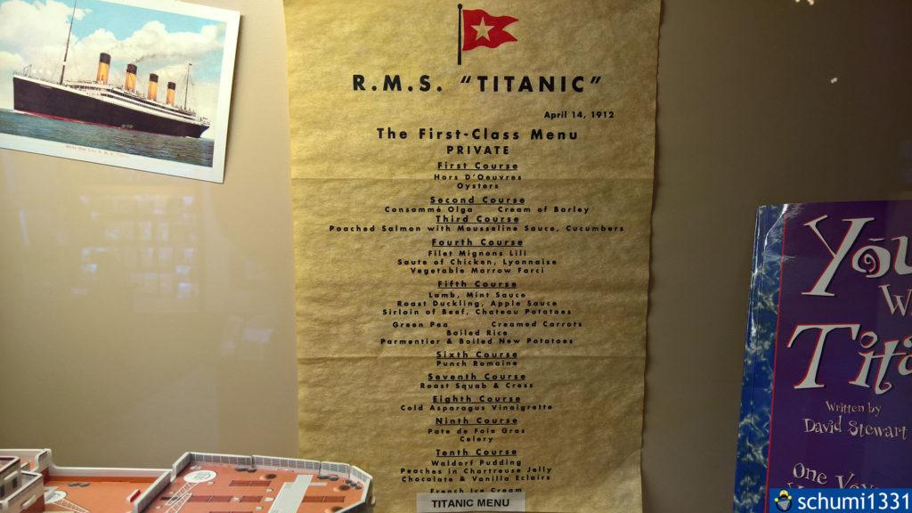 Das First Class-Menü auf der Titanic - Mahlzeit :D